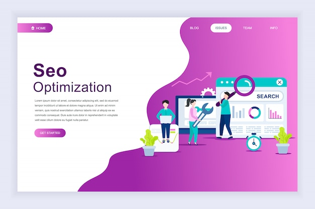 Modern flat design concept of seo analysis for website Premium Vector