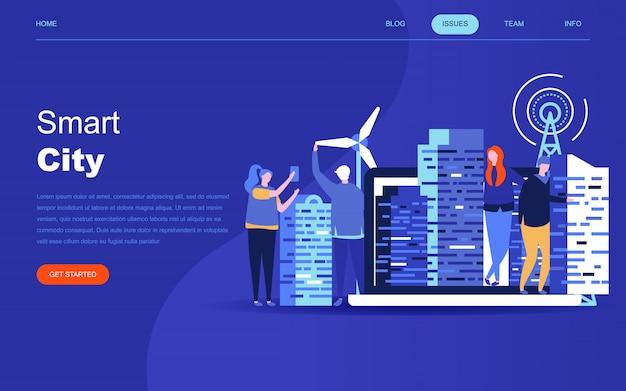 Modern flat design concept of smart city Premium Vector
