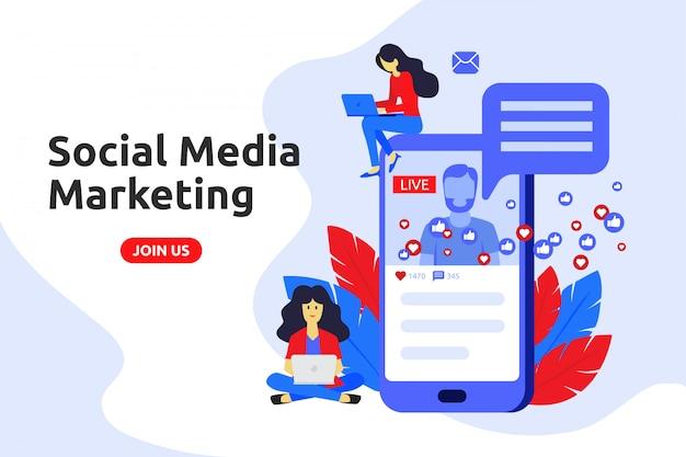 Modern flat design concept for social media marketing Premium Vector