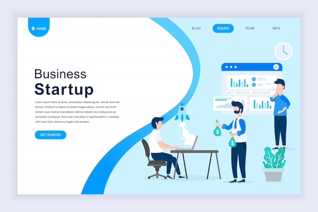 Modern flat design concept of startup your project Premium Vector