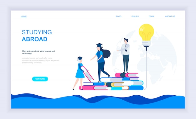 Modern flat design concept of studying abroad Premium Vector