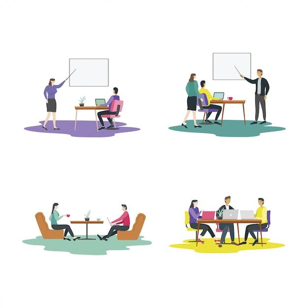 Modern flat design concept of  teamwork activities Premium Vector
