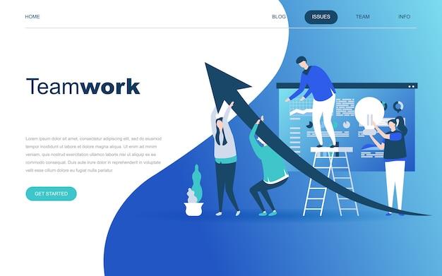 Modern flat design concept of teamwork Premium Vector