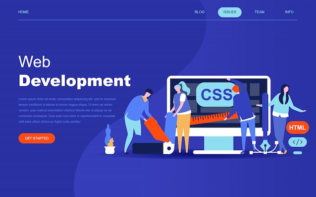 Modern flat design concept of web development Premium Vector
