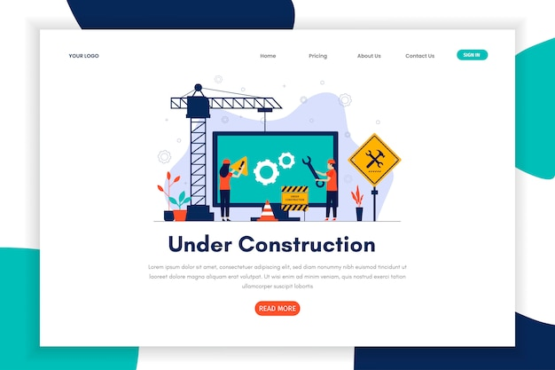 Modern flat design under construction landing page for site Premium Vector