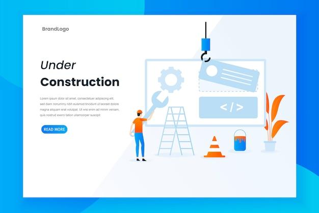 Modern flat design under construction landing page Premium Vector