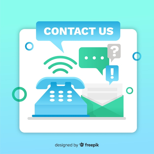 Modern flat design for contact us Free Vector