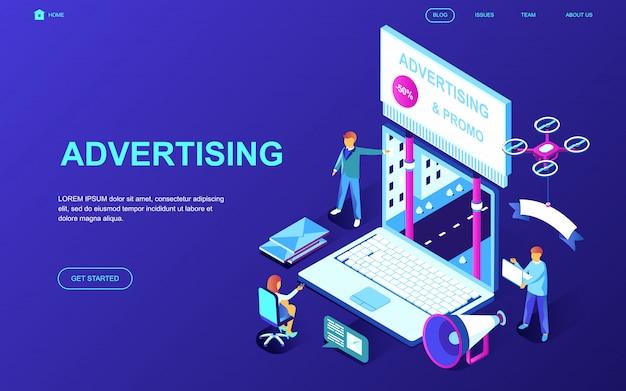 Modern flat design isometric concept of advertising Premium Vector