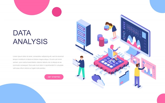 Modern flat design isometric concept of big data analysis Premium Vector