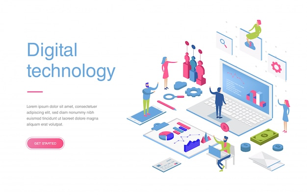 Modern flat design isometric concept of digital marketing for banner and website. isometric landing page template. business analysis, content strategy and management Premium Vector