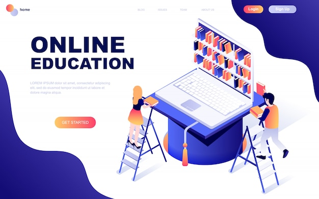 Modern flat design isometric concept of online education Premium Vector