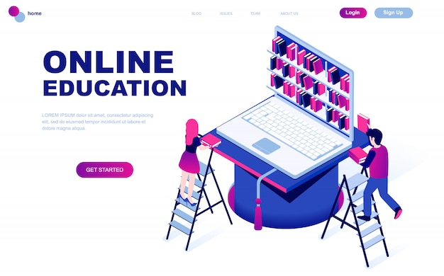 Modern flat design isometric concept of online education Premium Vector