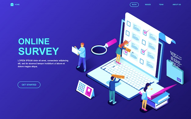 Modern flat design isometric concept of online survey Premium Vector