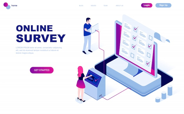 Modern flat design isometric concept of online survey Premium Vector