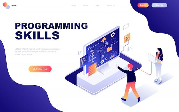 Modern flat design isometric concept of programming skills Premium Vector