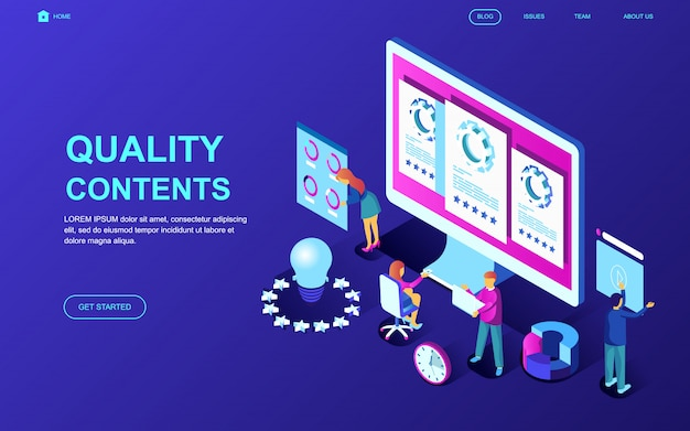 Modern flat design isometric concept of quality content Premium Vector
