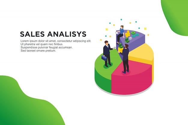 Modern flat design isometric concept of sales analisys Premium Vector