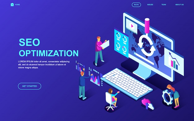 Modern flat design isometric concept of seo analysis Premium Vector