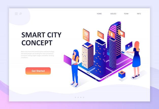 Modern flat design isometric concept of smart city technology Premium Vector