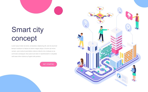 Modern flat design isometric concept of smart city Premium Vector