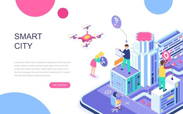 Modern flat design isometric concept of smart city Premium Vector