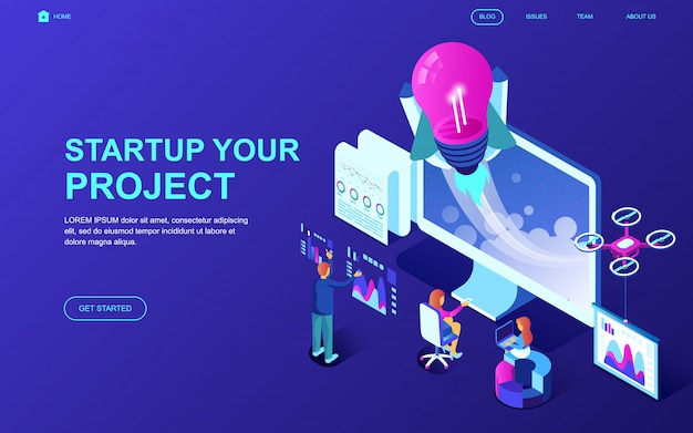 Modern flat design isometric concept of startup your project Premium Vector