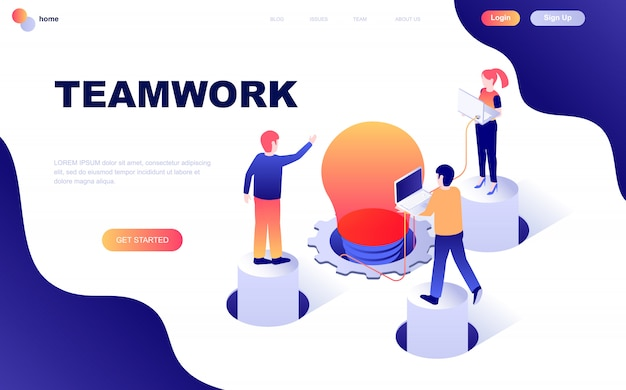 Modern flat design isometric concept of teamwork Premium Vector