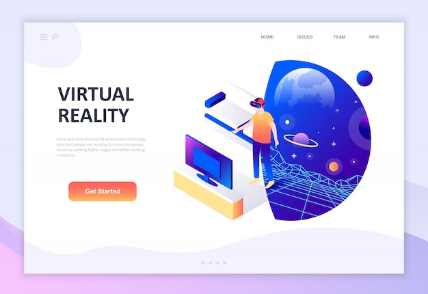 Modern flat design isometric concept of virtual augmented reality Premium Vector