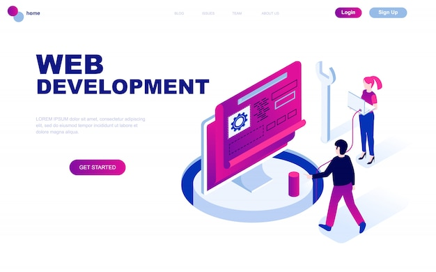 Modern flat design isometric concept of web development Premium Vector