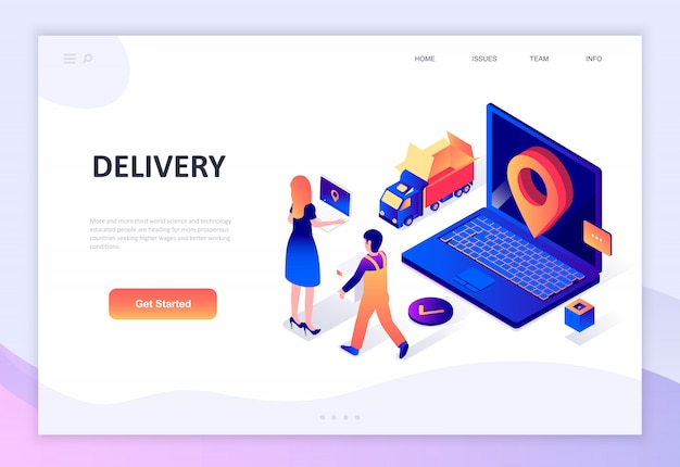 Modern flat design isometric concept of worldwide delivery Premium Vector