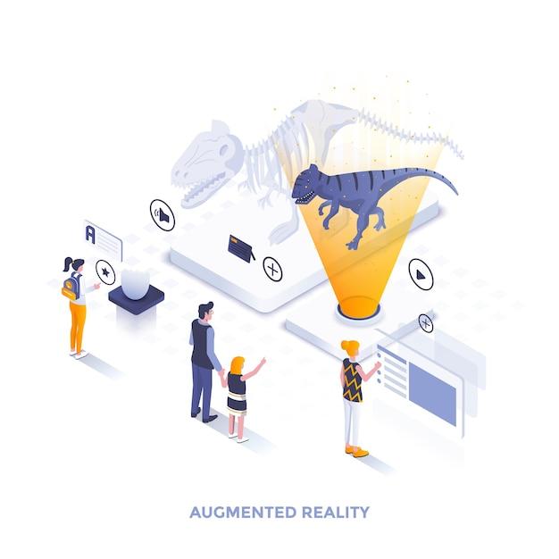 Современный плоский дизайн изометрической иллюстрации дополненной реальности Premium векторы