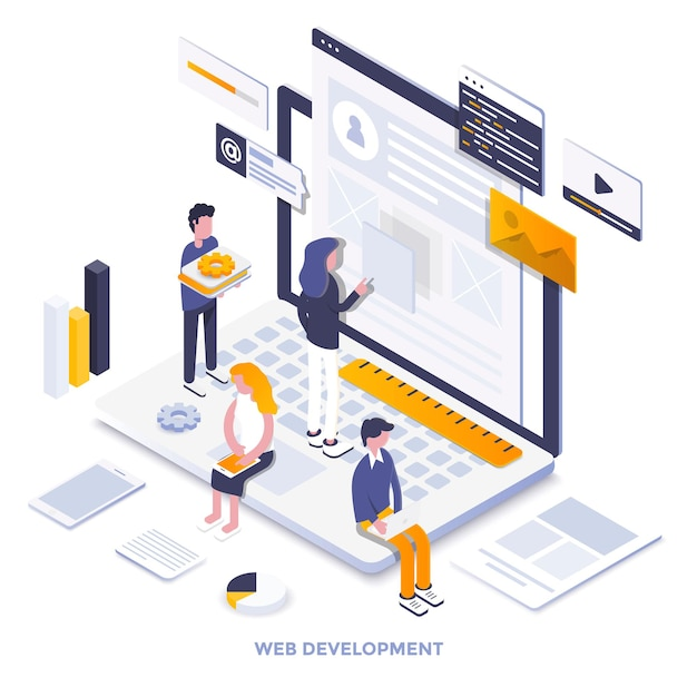 Modern flat design isometric illustration of web development. can be used for website and mobile we