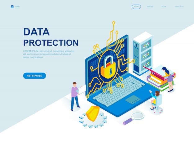 Modern flat design isometric landing page of data protection Premium Vector