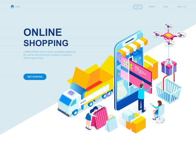 Modern flat design isometric landing page of online shopping Premium Vector