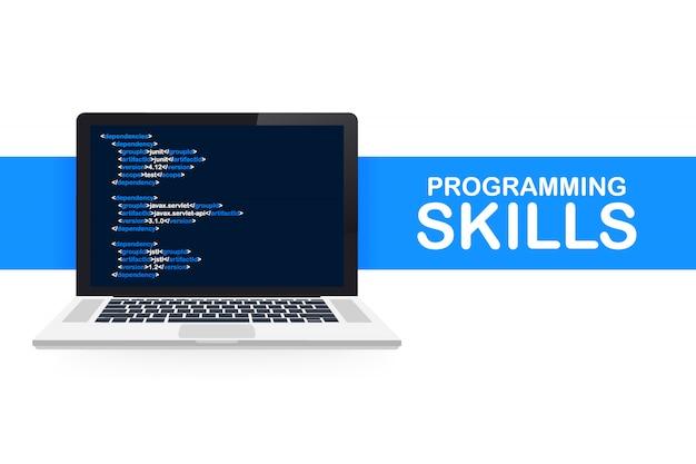 Webサイトおよびモバイルwebサイトのプログラミングスキルのモダンなフラットデザイン等尺性。ランディングページテンプレート。図。 Premiumベクター