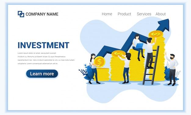 コインのお金を収集するキャラクターと投資のモダンなフラットデザイン。 Premiumベクター