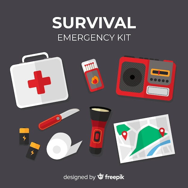 Modern flat emergency survival kit Free Vector