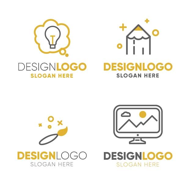 현대 평면 그래픽 디자인 로고 세트 무료 벡터