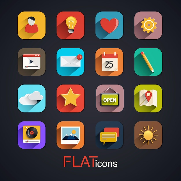Modern flat icons collection with long shadow effect Premium Vector