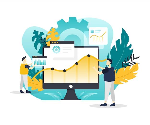 Modern flat illustration of data analysis. Premium Vector