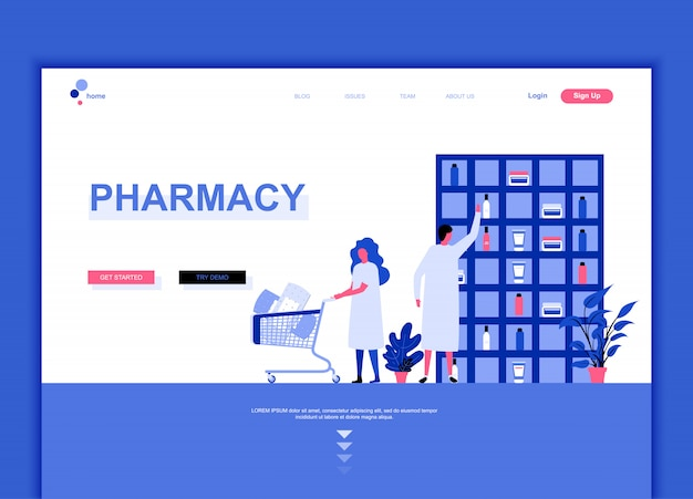 Modern flat landing page design template concept of pharmacy Premium Vector