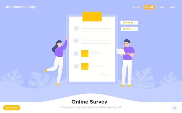 Modern flat landing page of online survey Premium Vector
