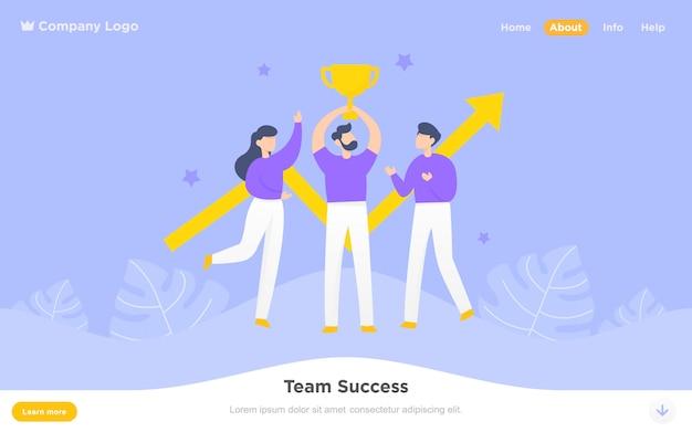 Modern flat landing page of team success Premium Vector