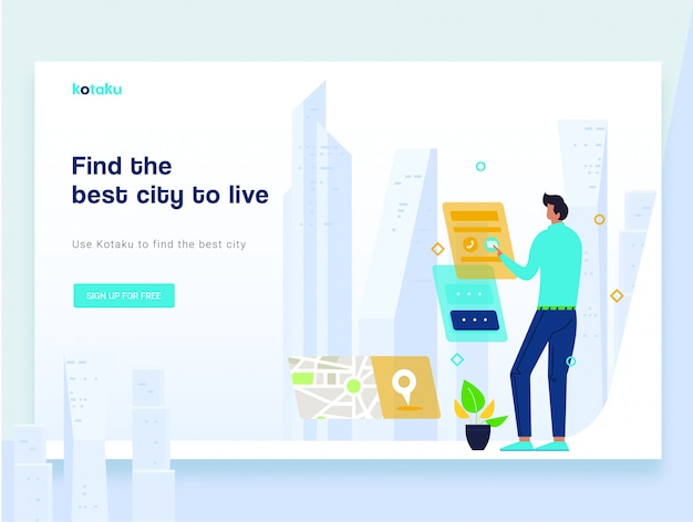 Modern flat landing page template concept of smart city technology Premium Vector
