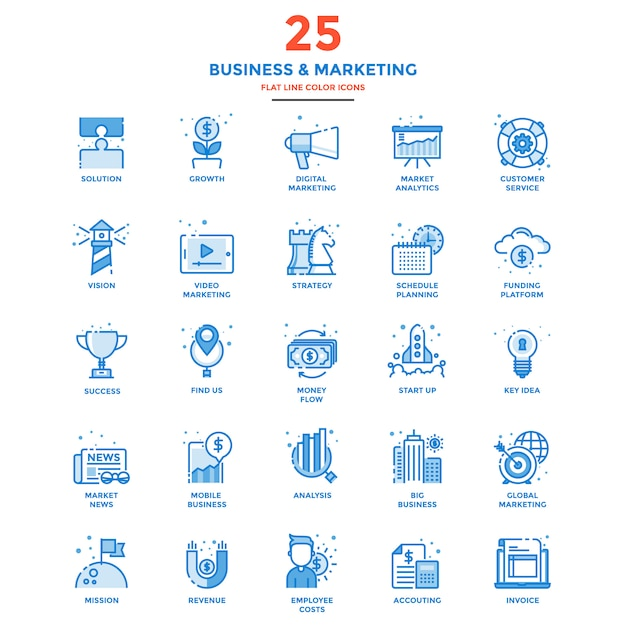 Modern flat line color icons- business and marketing Premium Vector