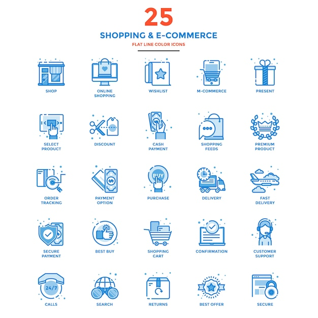Modern flat line color icons shopping and e commerce Premium Vector