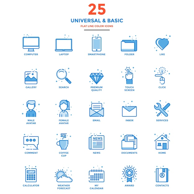 Modern flat line color icons universal and basic Premium Vector