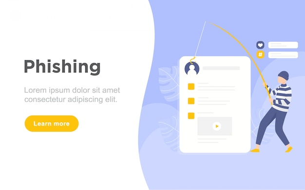 Modern flat phishing landing page illustration Premium Vector