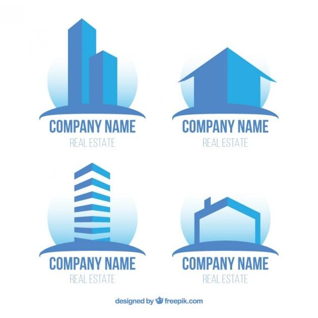 modern flat real estate logos in blue color vector