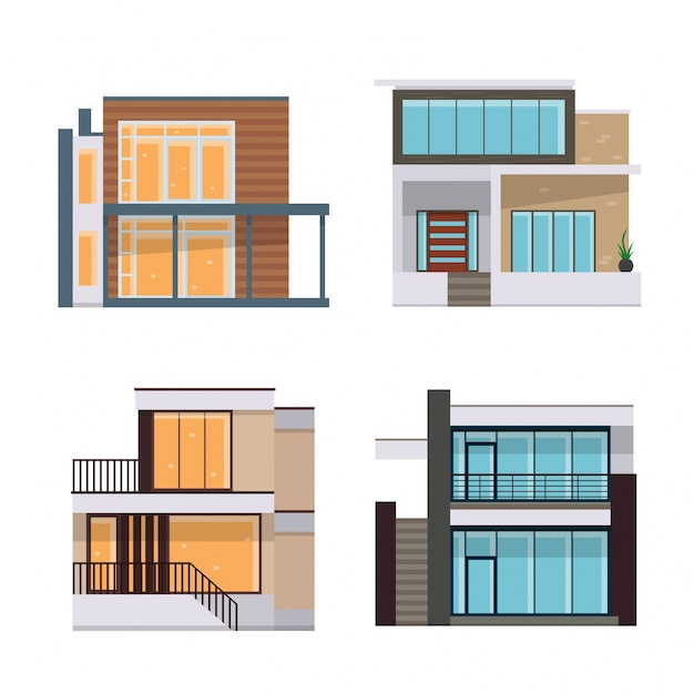 Modern Flat Residential House Illustration Set Free Vector